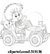 Clipart Of A Black And White Boy Playing In A Toy Jeep Royalty Free Vector Illustration