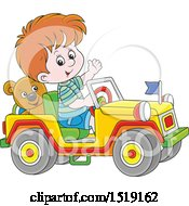 Clipart Of A White Boy Playing In A Toy Jeep Royalty Free Vector Illustration by Alex Bannykh