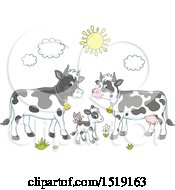 Clipart Of A Calf And Cows Under A Sun Royalty Free Vector Illustration