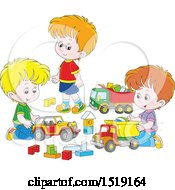 Clipart Of A Group Of White Boys Playing With Toy Trucks Royalty Free Vector Illustration by Alex Bannykh