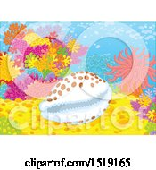 Clipart Of A Cowry Shell At A Coral Reef Royalty Free Vector Illustration