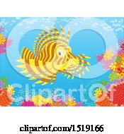 Clipart Of A Lionfish At A Coral Reef Royalty Free Vector Illustration by Alex Bannykh