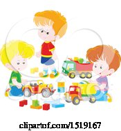 Clipart Of A Group Of Caucasian Boys Playing With Toy Trucks Royalty Free Vector Illustration by Alex Bannykh