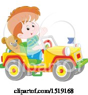 Caucasian Boy Playing In A Toy Jeep