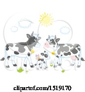 Clipart Of A Calf And Cows Royalty Free Vector Illustration by Alex Bannykh