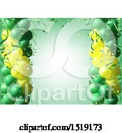 Poster, Art Print Of Green And Yellow Party Background With 3d Balloons And Ribbons