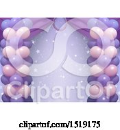 Clipart Of A Purple Party Background With Stars And Balloons Royalty Free Vector Illustration by dero