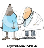 Clipart Of A Black Male Patient Getting A Check Up At A Clinic Royalty Free Vector Illustration