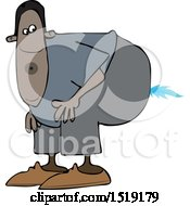 Clipart Of A Cartoon Black Man Farting A Blue Flame Royalty Free Vector Illustration by djart