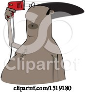 Cartoon Black Man Blow Drying His Hair