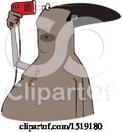 Clipart Of A Cartoon Black Man Blow Drying His Hair Royalty Free Vector Illustration