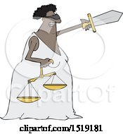 Cartoon Black Lady Justice Holding A Sword And Scales