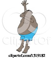 Clipart Of A Cartoon Black Man Plugging His Nose And Going Swimming Royalty Free Vector Illustration