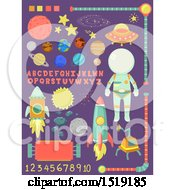 Clipart Of Outer Space Design Elements With Letters And Numbers Royalty Free Vector Illustration