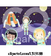 Clipart Of A Group Of Children Astronauts In Outer Space Royalty Free Vector Illustration by BNP Design Studio
