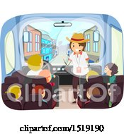 Clipart Of A Group Of Children And A Guide On A Bus Exploring A West Town Royalty Free Vector Illustration