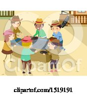 Clipart Of A Group Of Children Mining Gold Royalty Free Vector Illustration