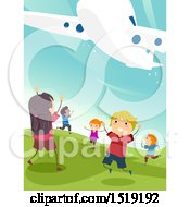Clipart Of A Group Of Children Under A Plane At An Airport Royalty Free Vector Illustration