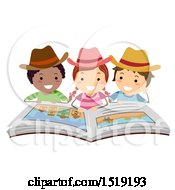 Clipart Of A Group Of Children Wearing Cowboy Hats And Reading A Western Book Royalty Free Vector Illustration