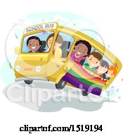 Clipart Of A Group Of Children Holding A Rainbow Flag And Riding A Bus Royalty Free Vector Illustration by BNP Design Studio