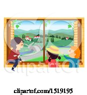 Clipart Of A Group Of Children Looking Out From A Rural Window Royalty Free Vector Illustration