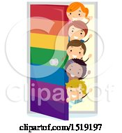 Clipart Of A Group Of Children Waving Beind A Rainbow Door Royalty Free Vector Illustration by BNP Design Studio