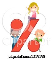 Clipart Of A Group Of Children Playing With A Percent Symbol Royalty Free Vector Illustration