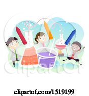 Clipart Of A Group Of Children With Giant Science Equipment Royalty Free Vector Illustration by BNP Design Studio