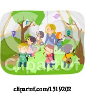Clipart Of A Teacher And School Children Exploring An Aviary Royalty Free Vector Illustration