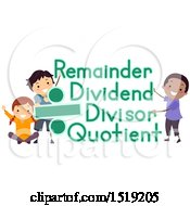 Clipart Of A Group Of Children With Divide Sign And Remainder Dividend Divisor And Quotient Terms Royalty Free Vector Illustration