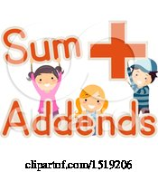 Clipart Of A Group Of Children Holding Sum Addends And Plus Words And Symbols Royalty Free Vector Illustration