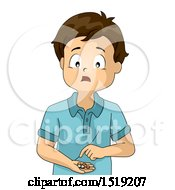 Clipart Of A Worried Boy Counting Money In His Hand Royalty Free Vector Illustration