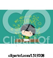 Clipart Of A Male Student Writing In A Journal Royalty Free Vector Illustration