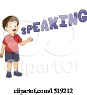 Clipart Of A Boy Presenting And Speaking Royalty Free Vector Illustration by BNP Design Studio