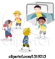 Clipart Of A Group Of Boys Playing Handball Royalty Free Vector Illustration