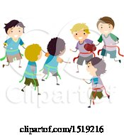 Clipart Of A Group Of Boys Playing Flag Football Royalty Free Vector Illustration by BNP Design Studio