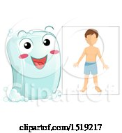 Clipart Of A Happy Soap Bar Character By A Boy Royalty Free Vector Illustration by BNP Design Studio
