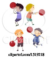 Clipart Of Boys Playing Basketball Royalty Free Vector Illustration by BNP Design Studio