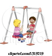 Clipart Of Boys Playing On A Double Swing Royalty Free Vector Illustration by BNP Design Studio