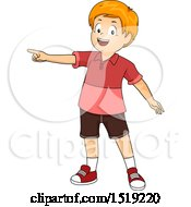 Clipart Of A Happy Boy Pointing To The Left Royalty Free Vector Illustration