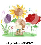 Clipart Of A Sketched Boy Playing A Guitar Around Happy Giant Flowers Royalty Free Vector Illustration by BNP Design Studio