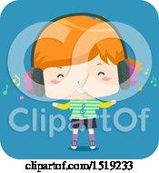 Boy Listening To Music Through Headphones