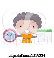Clipart Of A Boy Holding A Clock And Calendar Learning Time And Months Royalty Free Vector Illustration by BNP Design Studio
