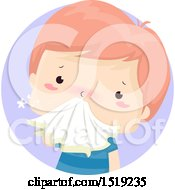 Clipart Of A Sick Boy Blowing His Noise Royalty Free Vector Illustration