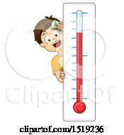 Clipart Of A By By A Hot Thermometer Royalty Free Vector Illustration
