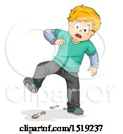 Clipart Of A Boy Leaving Prints On The Floor With Dirty Shoes Royalty Free Vector Illustration