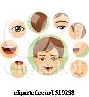 Clipart Of A Boy With Closups Of His Facial Body Parts Royalty Free Vector Illustration
