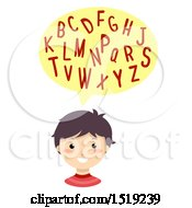 Clipart Of A Boy Reciting The Consonants Royalty Free Vector Illustration