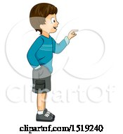 Clipart Of A Boy Facing And Pointing To The Right Royalty Free Vector Illustration