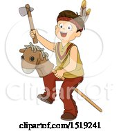 Clipart Of A Boy Dressed As A Native American And Playing With A Stick Pony Royalty Free Vector Illustration